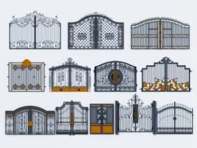 欧式铁艺大门 庭院门3d模型