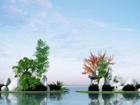 现代绿植假山水景小品3d模型