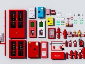 现代消防设施用品3d模型