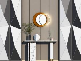 现代大理石玄关端景条案 墙饰挂件3d模型