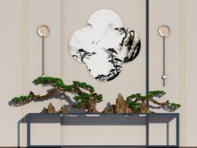 新中式玄关端景条案 松树盆景3d模型