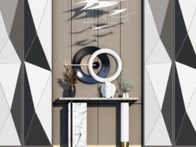 现代玄关端景条案 墙饰挂件3d模型