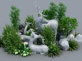 现代鹿雕塑绿植石头3d模型