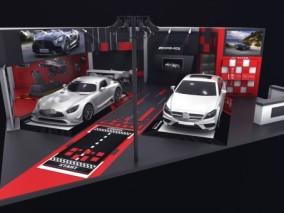 车展 车展位 车展台 静展 奔驰 AMG GT 跑车 梅赛德斯 A35L 展厅3d模型
