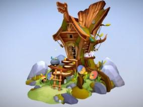 多种文件格式 卡通小房子 带蝴蝶动画 可爱小屋子  树  花 3d模型