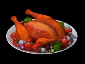 三渲二 火鸡 烤鸡 西红柿 餐盘 美食 Vary渲染 3d模型