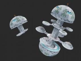 PBR-科幻 太空站 行星站 空间站 航天器  3d模型
