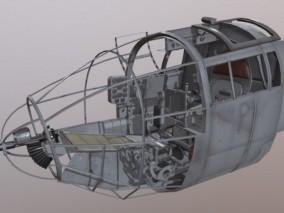 he-111h-16战斗机驾驶舱 驾驶座 战机 写实 操作面板 控制按钮 飞机驾 3d模型