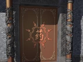 游戏场景 漫画场景 卡通场景 中式建筑 门 中式门 龙盘柱 柱子 雕花 中式花纹 图腾 龙 浮雕
