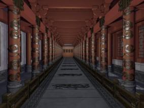 游戏场景 漫画场景 卡通场景 中式建筑 城堡 地下室 密室 走廊 连廊 雕花 花纹 护栏 中式走廊