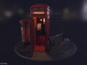 伦敦电话亭  电话亭  座椅 3d模型