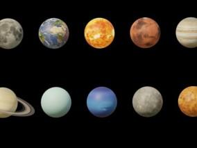 太阳系八大行星 太阳 星球 太阳系 太空恒星 宇宙 星系 地球 月球 火星 星球 土星 3D模型