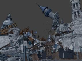 漫画 卡通 欧式场景 废墟 倒塌的建筑 破旧街道 爆地震战后场景 3d模型