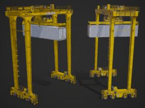 PBR 龙门起重机 龙门吊 港口 车间 重型机械 施工吊机 移动式工地 船坞 3d模型