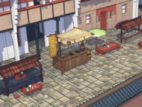 漫画场景 卡通场景 中式建筑 古镇 古建 街道 商业街 集市 3D模型