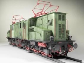 电力机车 高铁 火车头 电力机车头 老式火车  3d模型
