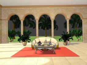 漫画卡通场景 宫殿 大厅 阿拉伯大厅 欧式建筑 沙发 茶几 植物 树 3d模型