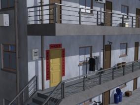 漫画场景 卡通场景 住宅 小区 居民楼 小房子 旧房子 小屋子 走廊 3D模型