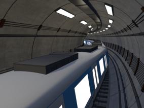 漫画场景 卡通场景 交通工具 地铁 车厢 现代地铁 轻轨 轨道车 隧道 地铁隧道 圆形隧道