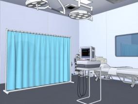 漫画场景 卡通场景 医疗设备 手术室 病房 抢救室 医疗仓 心脏监视器 3D模型