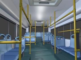 漫画场景 卡通场景 交通工具 车辆 公交车 大巴 巴士 公交车内景 公共座椅