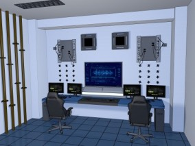 漫画场景 卡通场景 科幻场景 实验室 研究室 控制室  3d模型