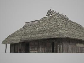 古代建筑 大型茅草屋集会所 3d模型