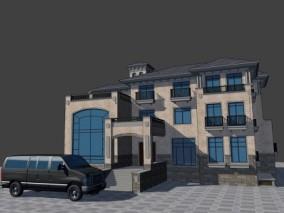 漫画场景 卡通场景 建筑 酒店 会所 公寓 欧式现代别墅 艺术中心 3d模型