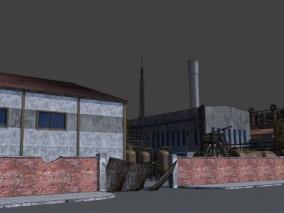 漫画场景 卡通场景 废墟 废弃工厂 工厂 工业设备 厂房 车间 3d模型