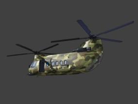 漫画卡通场景 军事装备 武器 运输机 螺旋桨飞机  战斗机 支奴干直升机 3d模型