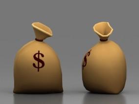 麻袋口袋 卡通钱袋模型 金币袋子 宝物袋 美金袋 老钱袋 动画影视素材 3d模型