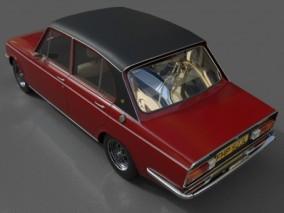 老式白色轿车 小车 车辆 旧车 私家车 红色写实复古汽车 家用轿车 3d模型