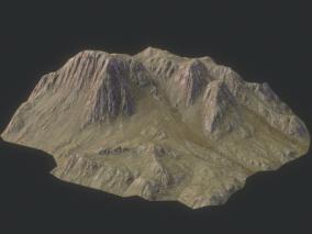 山体 岩石 山峰 山坡 高山 丘陵 高原  沟壑 细密绿草 3d模型