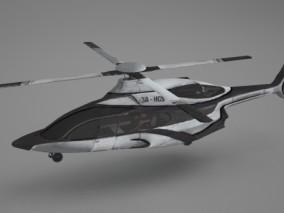 科幻风格直升机 3d模型