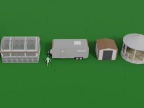 露营车 凉亭 棚屋 风车 温室 3d模型