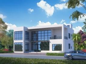 现代别墅外观,建筑室外,外景外立面,植物灌木,汽车 3d模型