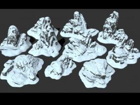 雪山 雪 冰山 冰雪 北极 冬 山石 山脉 岩石 自然 地牢 关卡 火山  3d模型