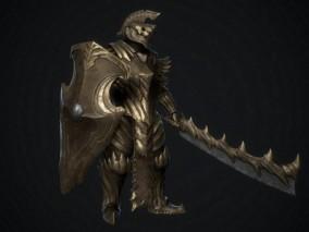 盔甲武士 骑士 金色盔甲