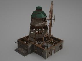 古代建筑风车磨坊 3d模型