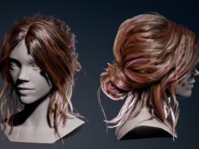 ue4 真实头发 女性人头像 女性头发 虚幻4 3d模型