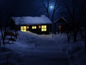 雪景村庄 夜景村庄 农村 木屋 3D模型