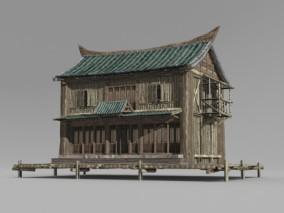 亚洲古建筑两层民房 3D模型
