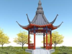 中式六角凉亭3D模型