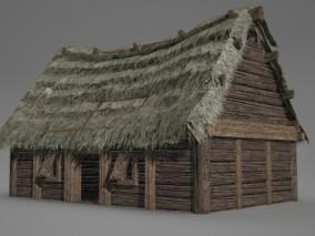 古代古建筑茅草屋 3D模型