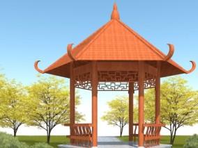 六角凉亭3D模型
