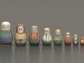 俄罗斯套娃 套娃 娃娃 工艺品 摆件 非遗 传统文化 民间 玩具 民俗 嵌套娃娃 3D模型