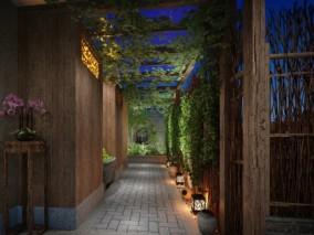 中式火锅店露天花园走廊 3D模型