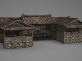 亚洲古建筑连体民房商铺集会所 3D模型