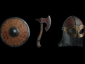 维京战斧 斧头 冷兵器 古代武器 短斧 维京盾牌 欧洲中世纪兵器 古代头盔 铁盔 防御护具 木制盾牌