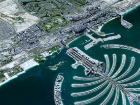 迪拜城市3d模型 数字城市 地形 鸟瞰 城市简模 城市 VR场景 3d模型